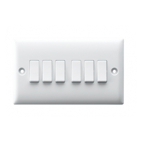 10AX 6 GANG 2 WAY SWITCH PLATE